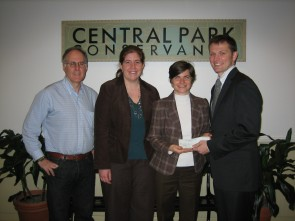 CRCA's Greg Ventresca presents donation to the Conservancy