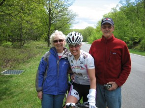 Cat 3/4 winner Meredith Ehn celebrates Mother's Day with her parents.